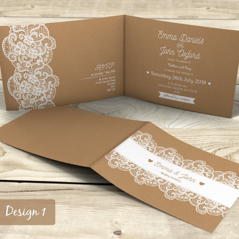 Personalised folded wedding evening or day invitations for Wedding invitation folded envelopes