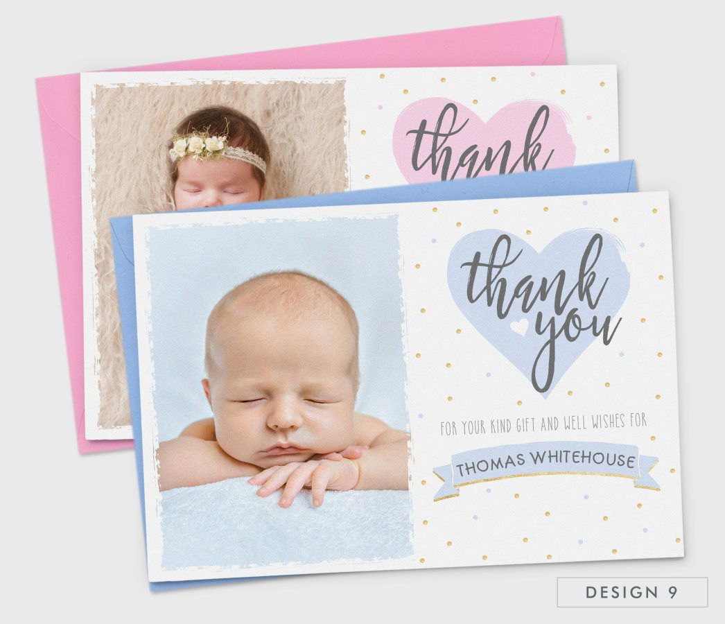 new baby thank you cards personalised birth announcement