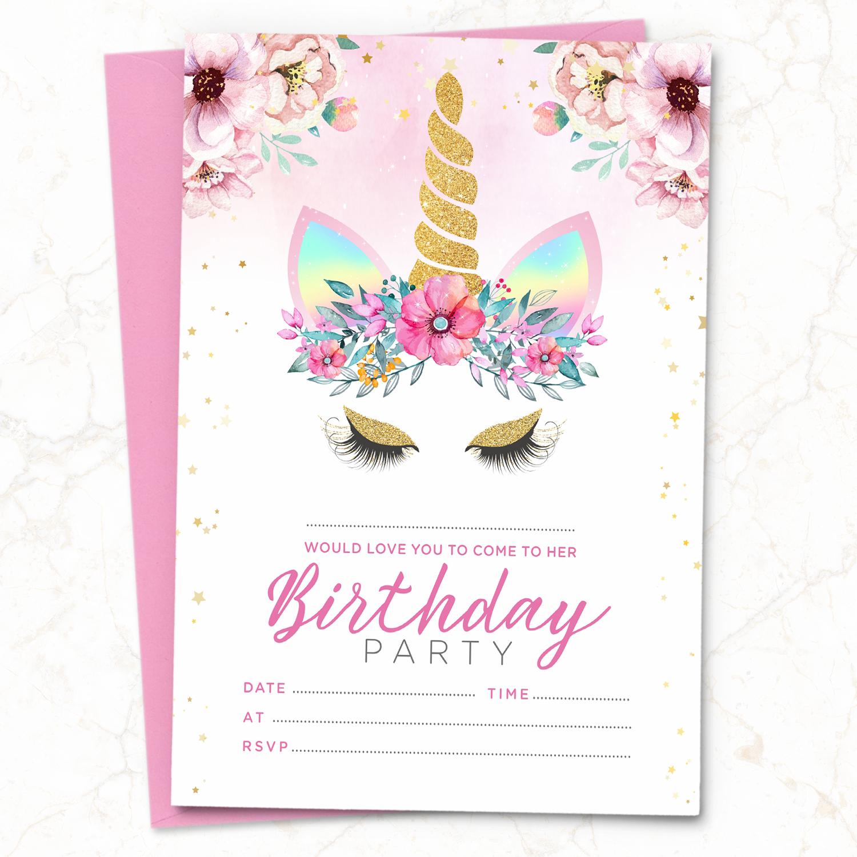 10 x Unicorn Birthday Party Invitations Invites ~ Girl Children Kids Pack |  eBay