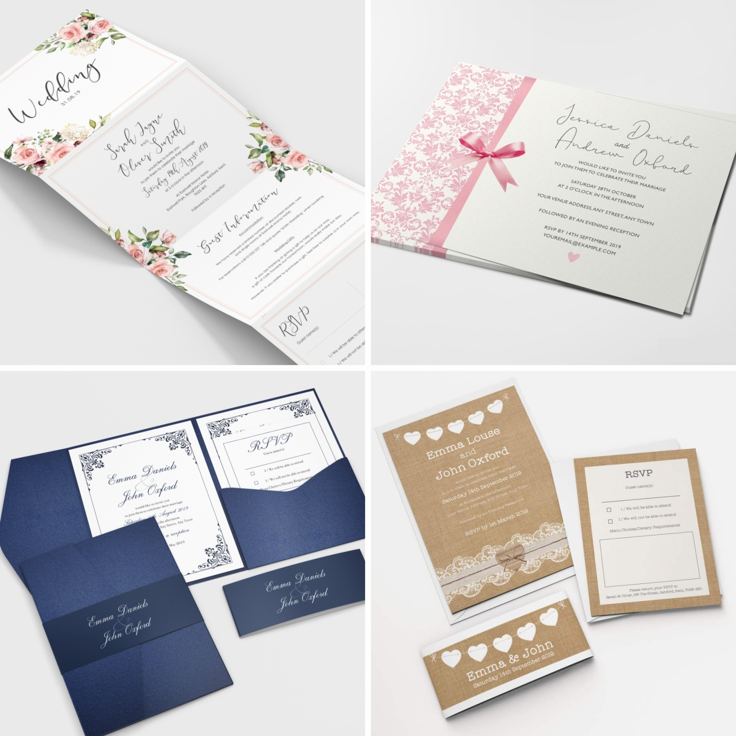 Details About Personalised Wedding Invitations Invites Rsvp Cards Day Evening Free Envelopes