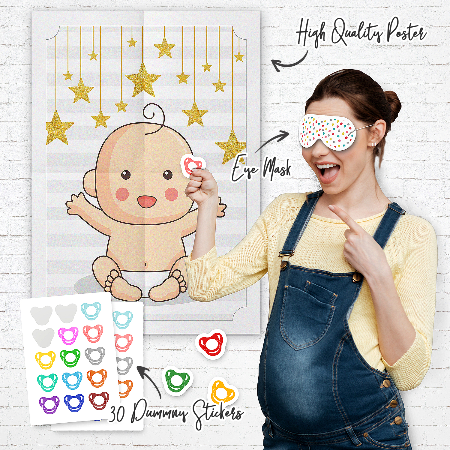 Pin The Dummy On Baby Shower Party Game Games Boy Girl Unisex High Resolution Dummies Pacifier Poster Includes Blindfold Stickers All Orders Are Sent In A A4 Envelope To Keep Cost Down Will